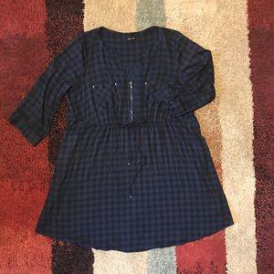 Navy Gingham Torrid Shirt Dress 3